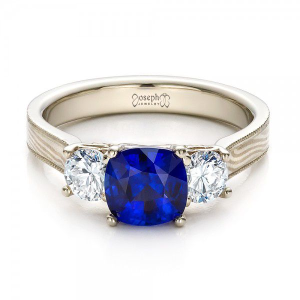 18k White Gold And 18K Gold Women's Blue Sapphire Diamond And Mokume Engagement Ring - Flat View -