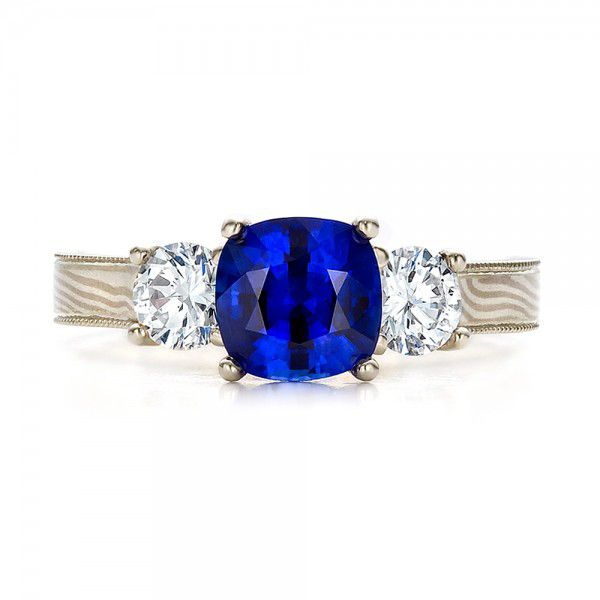 18k White Gold And 18K Gold Women's Blue Sapphire Diamond And Mokume Engagement Ring - Top View -