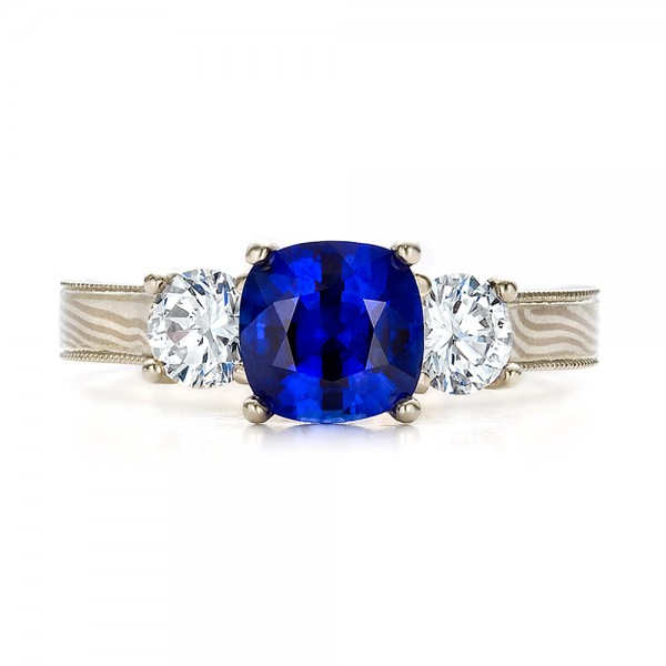 Women's Blue Sapphire, Diamond and Mokume Engagement Ring - Top View