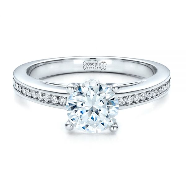 Women's Channel Set Engagement Ring - Flat View -  1473 - Thumbnail
