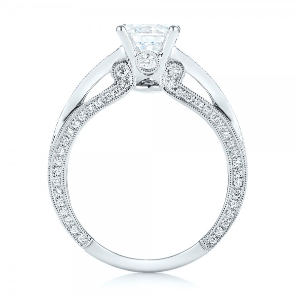 Women's Diamond Engagement Ring - Finger Through View