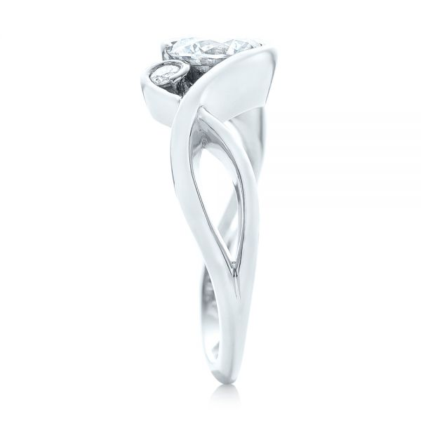 14k White Gold Wrap Diamond Engagement Ring - Side View -