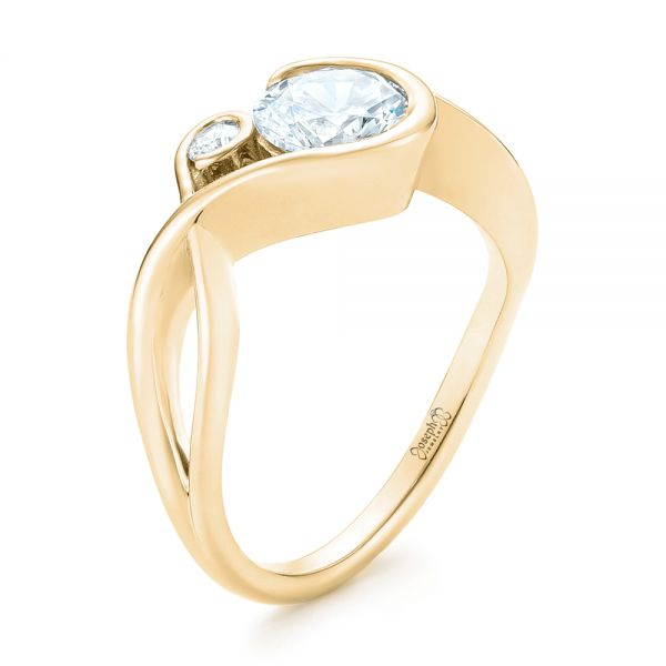 14k Yellow Gold 14k Yellow Gold Wrap Diamond Engagement Ring - Three-Quarter View -