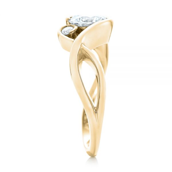 14k Yellow Gold 14k Yellow Gold Wrap Diamond Engagement Ring - Side View -