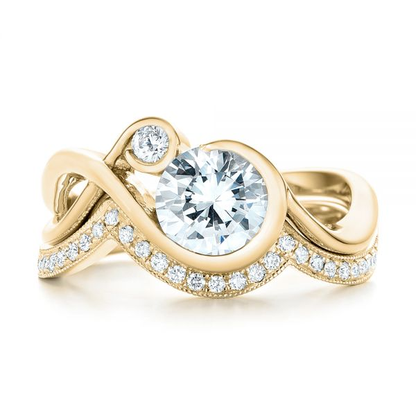 14k Yellow Gold 14k Yellow Gold Wrap Diamond Engagement Ring - Top View -