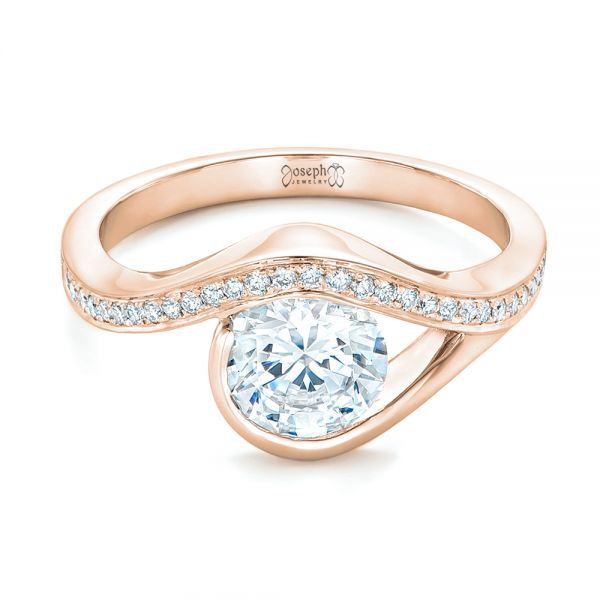 18k Rose Gold 18k Rose Gold Wrapped Diamond Engagement Ring - Flat View -