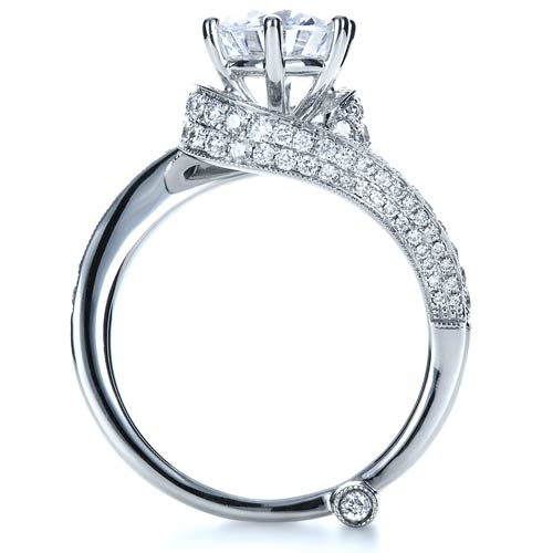 Wrapped Diamond Engagement Ring - Vanna K - Finger Through View
