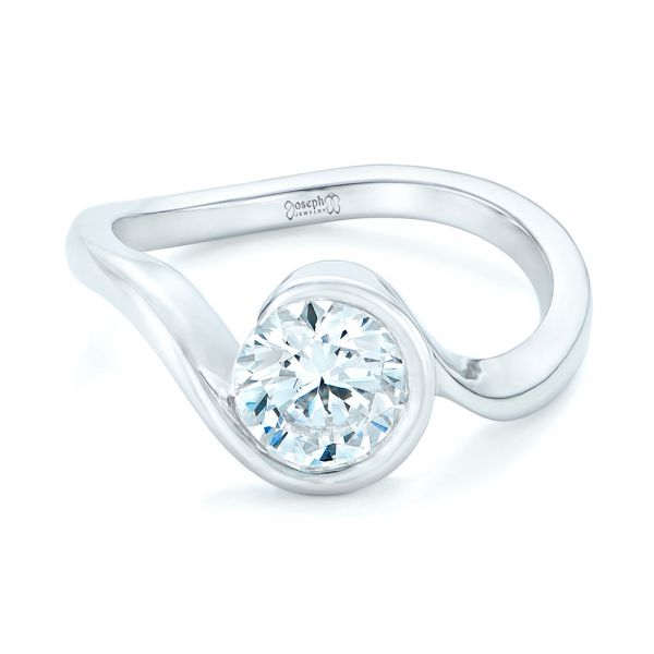 14k White Gold Wrapped Diamond Engagement Ring - Flat View -