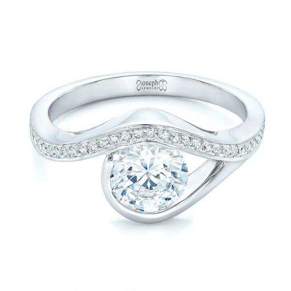 Wrapped Diamond Engagement Ring - Flat View -  102330 - Thumbnail
