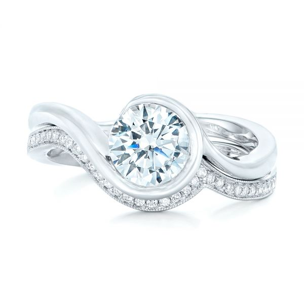 14k White Gold Wrapped Diamond Engagement Ring - Top View -