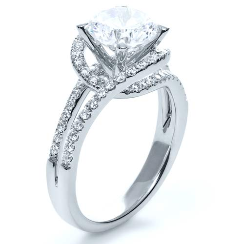 Wrapped Diamond Halo Engagement Ring