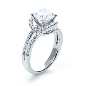 Wrapped Diamond Halo Engagement Ring - Image
