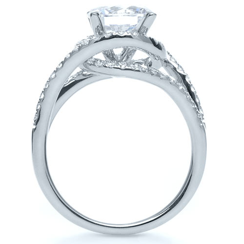 Wrapped Diamond Halo Engagement Ring - Finger Through View