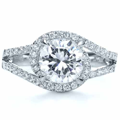 Wrapped Diamond Halo Engagement Ring - Top View