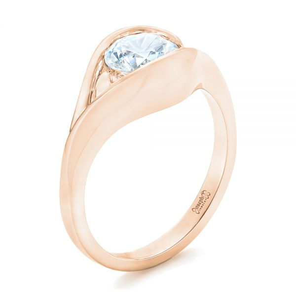 18k Rose Gold 18k Rose Gold Wrapped Solitaire Engagement Ring - Three-Quarter View -