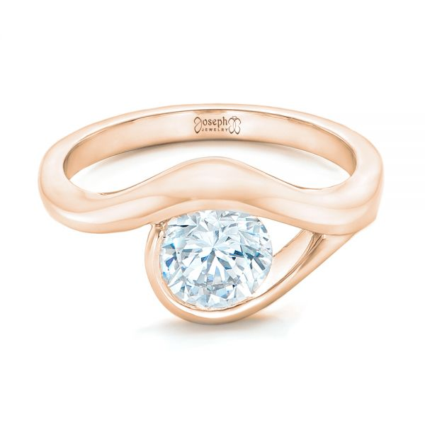 18k Rose Gold 18k Rose Gold Wrapped Solitaire Engagement Ring - Flat View -