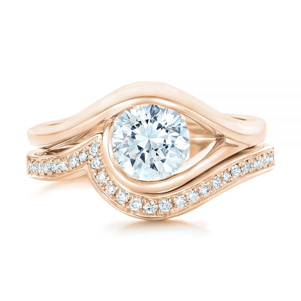 18k Rose Gold 18k Rose Gold Wrapped Solitaire Engagement Ring - Top View -