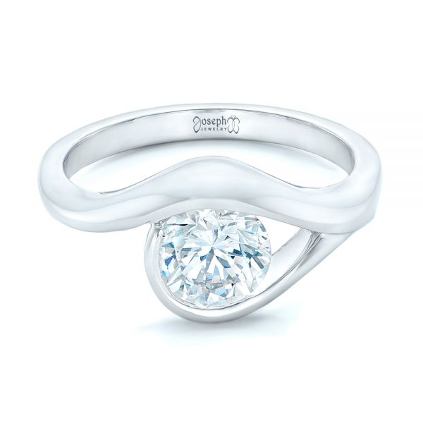 14k White Gold Wrapped Solitaire Engagement Ring - Flat View -