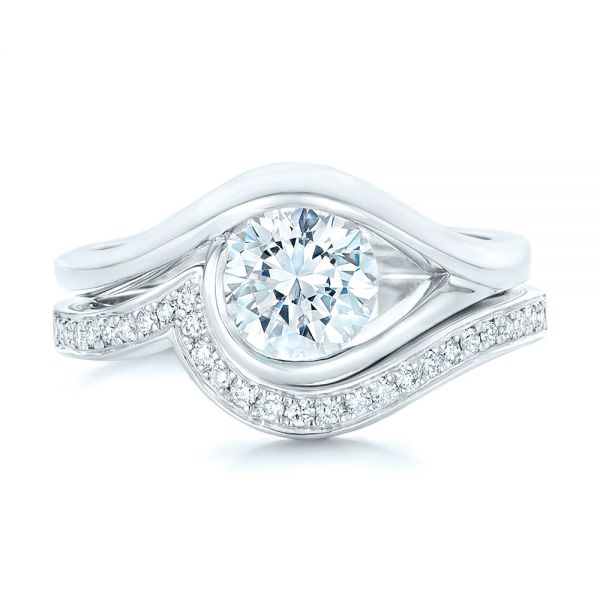 14k White Gold Wrapped Solitaire Engagement Ring - Top View -