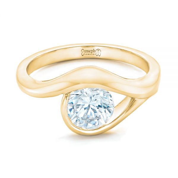 18k Yellow Gold 18k Yellow Gold Wrapped Solitaire Engagement Ring - Flat View -