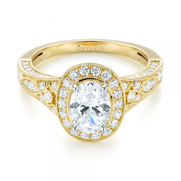 Two-Tone Yellow Gold Diamond Halo Engagement Ring - Laying View