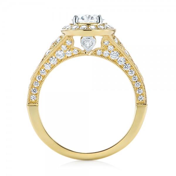 Two-Tone Yellow Gold Diamond Halo Engagement Ring - Finger Through View