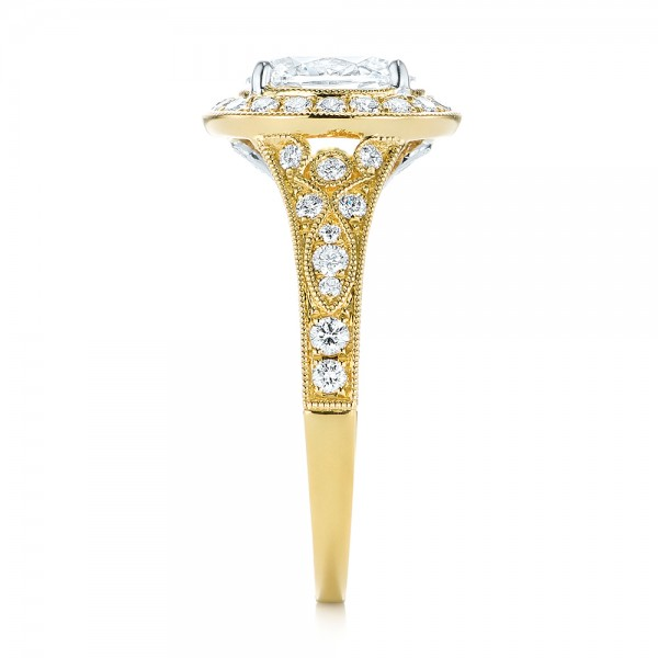 Two-Tone Yellow Gold Diamond Halo Engagement Ring - Side View