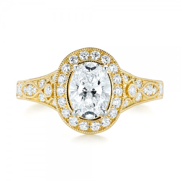 Two-Tone Yellow Gold Diamond Halo Engagement Ring - Top View