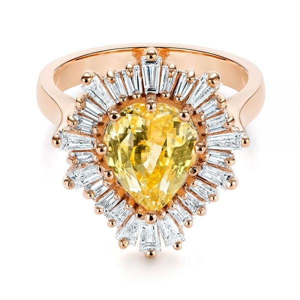 14k Rose Gold 14k Rose Gold Yellow Sapphire And Baguette Diamond Halo Engagement Ring - Flat View -  105771 - Thumbnail
