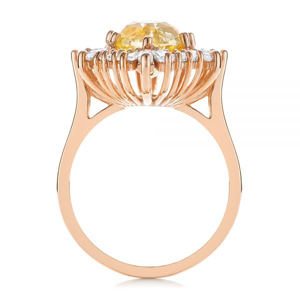 14k Rose Gold 14k Rose Gold Yellow Sapphire And Baguette Diamond Halo Engagement Ring - Front View -  105771 - Thumbnail