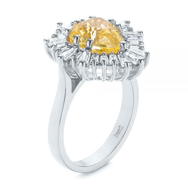 Platinum Platinum Yellow Sapphire And Baguette Diamond Halo Engagement Ring - Three-Quarter View -  105771 - Thumbnail