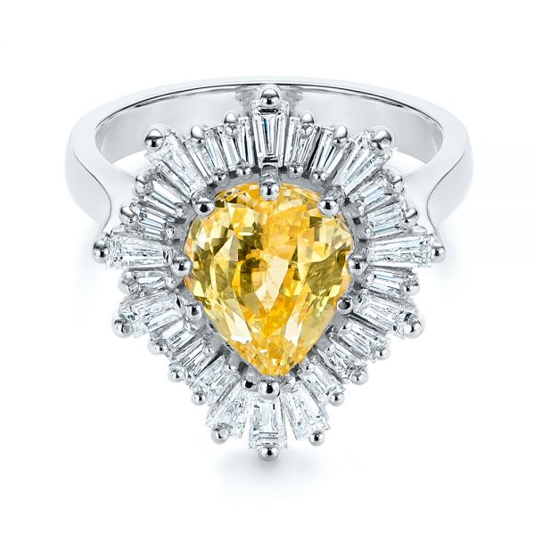 Platinum Platinum Yellow Sapphire And Baguette Diamond Halo Engagement Ring - Flat View -  105771 - Thumbnail