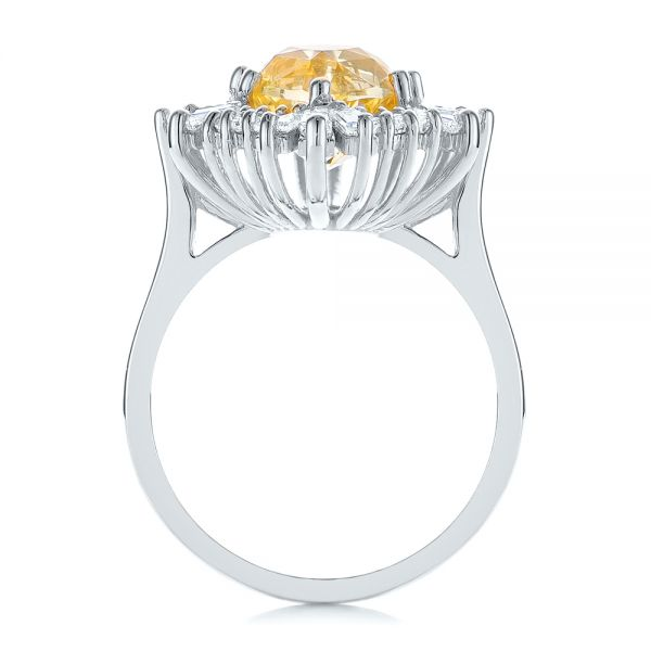 Platinum Platinum Yellow Sapphire And Baguette Diamond Halo Engagement Ring - Front View -  105771 - Thumbnail