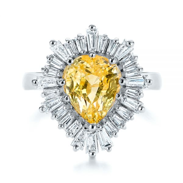 Platinum Platinum Yellow Sapphire And Baguette Diamond Halo Engagement Ring - Top View -  105771 - Thumbnail