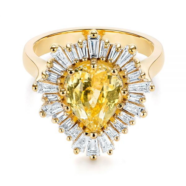 14k Yellow Gold Yellow Sapphire And Baguette Diamond Halo Engagement Ring - Flat View -  105771 - Thumbnail