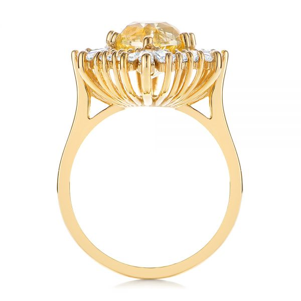 14k Yellow Gold Yellow Sapphire And Baguette Diamond Halo Engagement Ring - Front View -  105771 - Thumbnail
