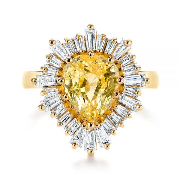 14k Yellow Gold Yellow Sapphire And Baguette Diamond Halo Engagement Ring - Top View -  105771 - Thumbnail