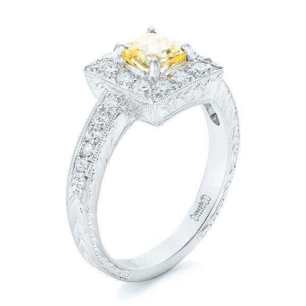 Yellow Sapphire and Diamond Halo Engagement Ring