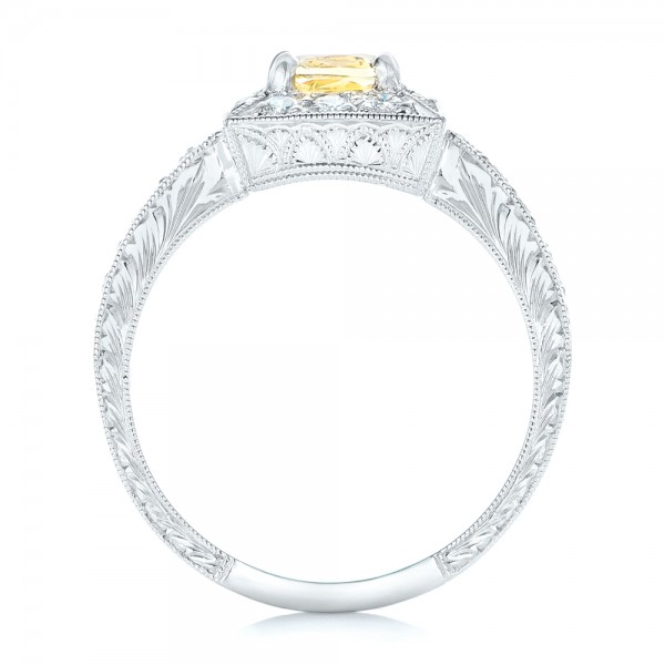 Yellow Sapphire and Diamond Halo Engagement Ring - Finger Through View