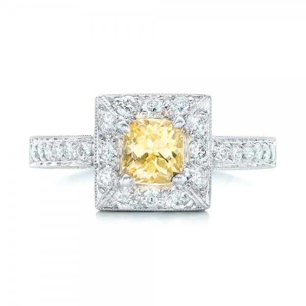 Yellow Sapphire and Diamond Halo Engagement Ring - Top View