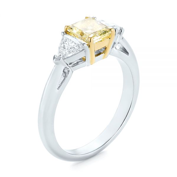 Yellow and White Diamond Engagement Ring - Image