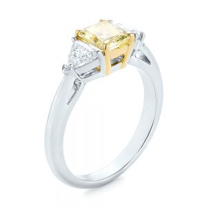 Yellow and White Diamond Engagement Ring