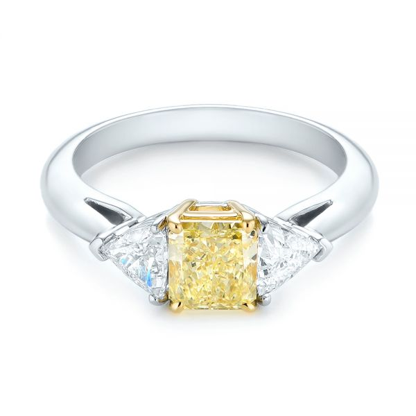 Yellow And White Diamond Engagement Ring - Flat View -