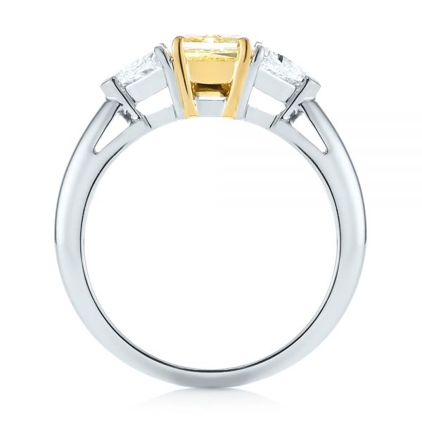 Yellow And White Diamond Engagement Ring - Front View -