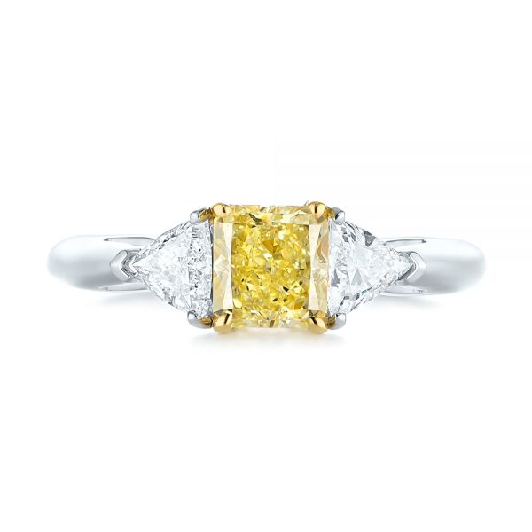 Yellow And White Diamond Engagement Ring - Top View -