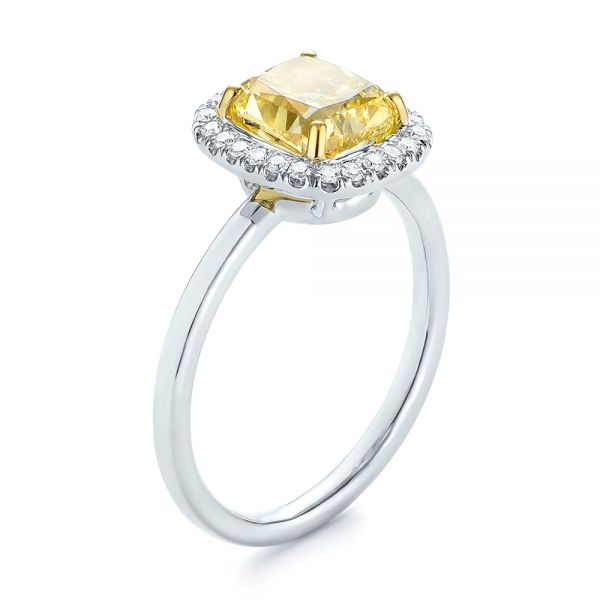 Yellow and White Diamond Halo Engagement Ring