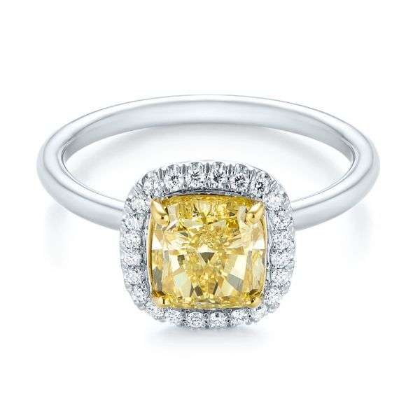 Yellow and White Diamond Halo Engagement Ring - Flat View -  104135 - Thumbnail