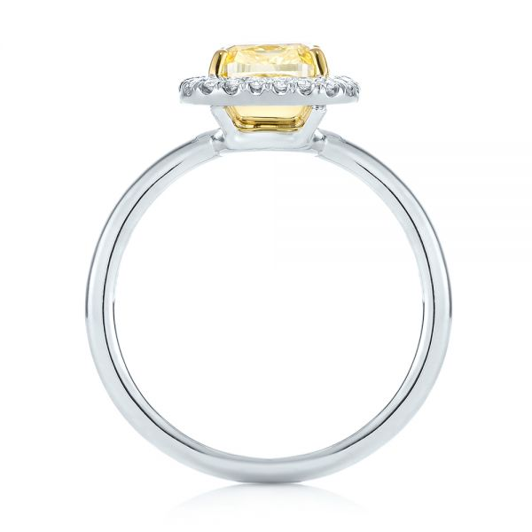 Yellow and White Diamond Halo Engagement Ring - Front View -  104135 - Thumbnail