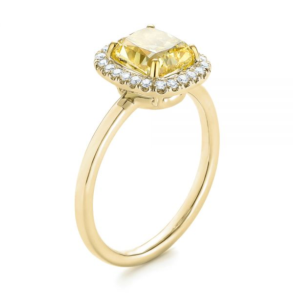 Yellow and White Diamond Halo Engagement Ring - Image