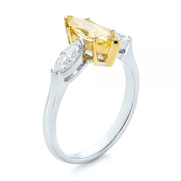 Yellow And White Marquise Diamond Engagement Ring - Three-Quarter View -
